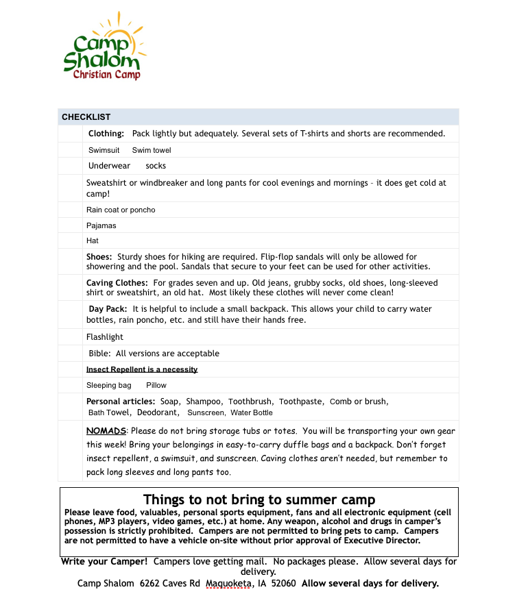 What-To-Bring list 5-2019 NEW - Camp Shalom Christian CampCamp
